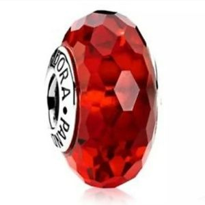 Pandora red faceted Murano Glass charm bead.